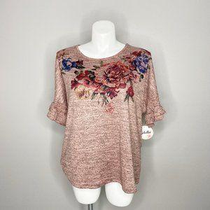 Dressbarn Soleillee Rose Floral Flutter Sleeve Top